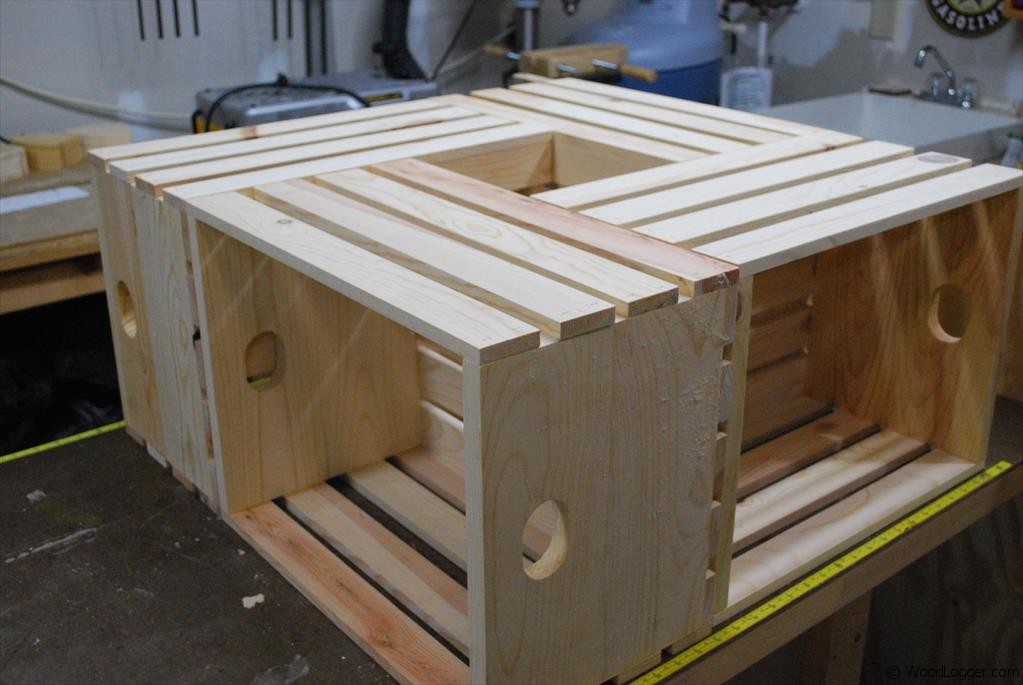 Wood crate coffee table woodlogger for How to make a coffee table out of crates
